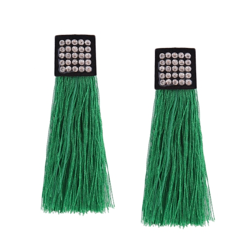 Geometric Square Diamante Colored Long String Tassel Earrings