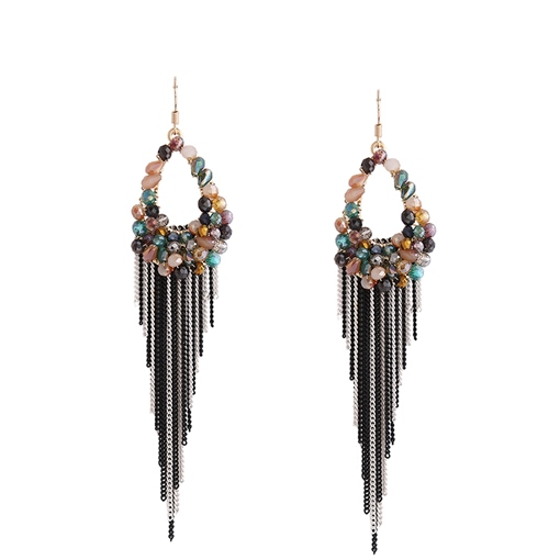 Hollow Out Beads Stone Alloy Chains Tassels Earrings