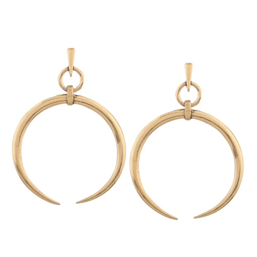 Polishing Gold-Tone Metal Large Opened Circles Geometric European Hoop Earrings