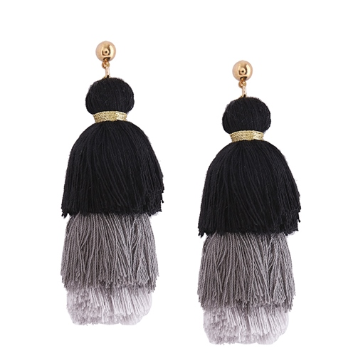 Three Layer Umbrella Shaped Gradient String Alloy Stud Tassels Earrings
