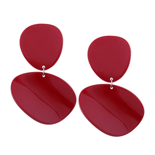 Large Resin Double Asymmetric Round Silver-Tone Alloy European Drop Earrings
