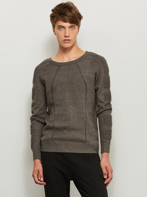 Motor Style Round Collar Thin Solid Color Slim Men's Sweater