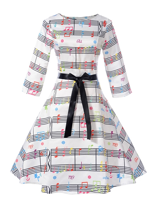 Musical Note Pattern White Women's Day Dress