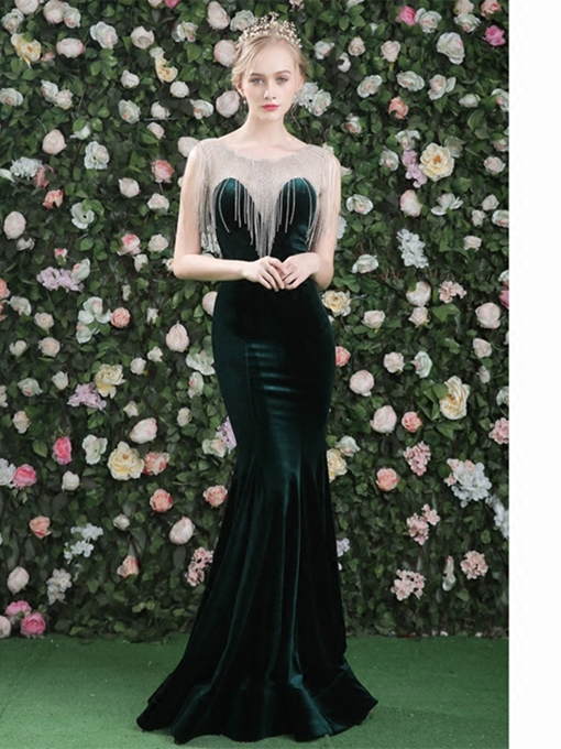 Mermaid Scoop Beading Velvet Court Train Evening Dress