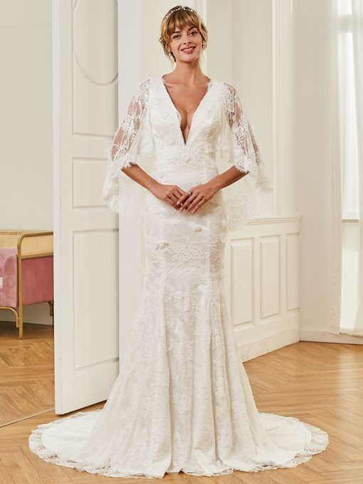 Deep V-Neck Trumpet Lace Wedding Dress