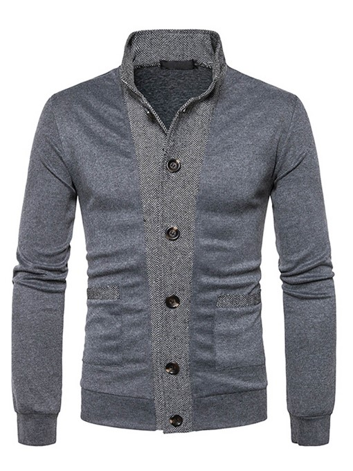 Lapel Patchwork Color Block Classic Slim Fit Knit Men's Cardigan Sweater