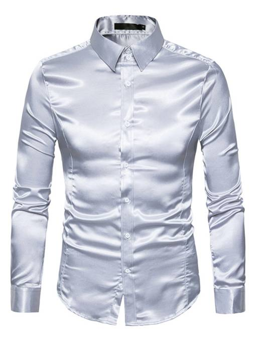 Lapel Single-Breasted Bright Color Slim Fit Men's Dress Shirt