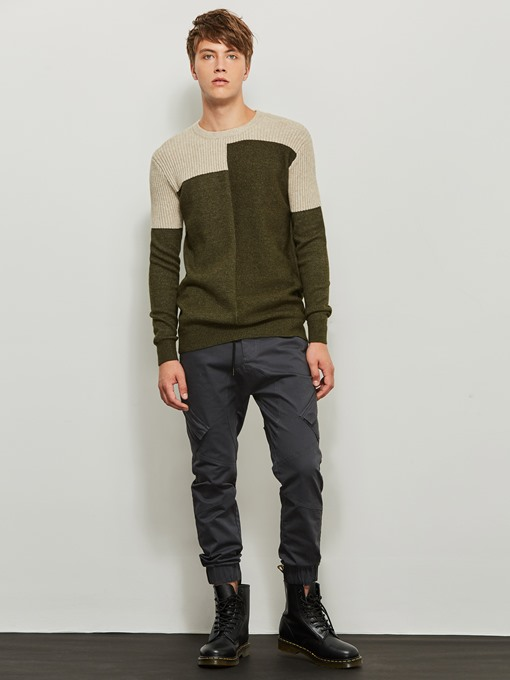 Motor Style Round Collar Patchwork Color Block Slim Men's Sweater