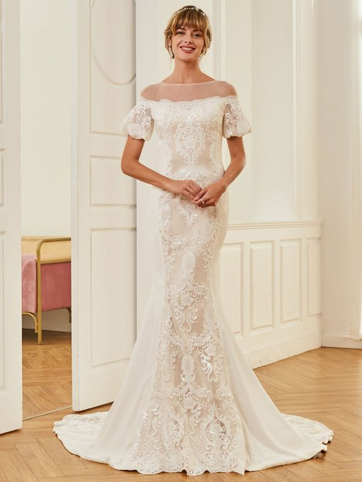 Short Sleeves Sequins Mermaid Lace Wedding Dress