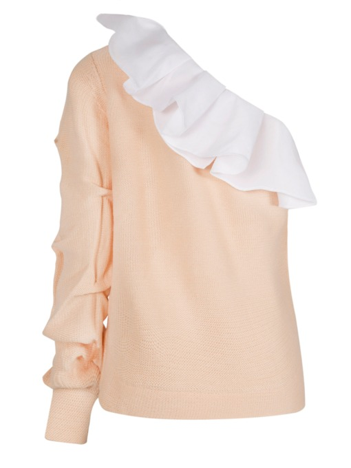 Ruffled Collar Color Block Falbala Women's Sweater