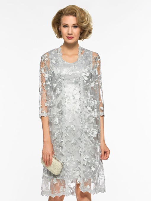 Short Column Lace Mother of the Bride Dress with Jacket