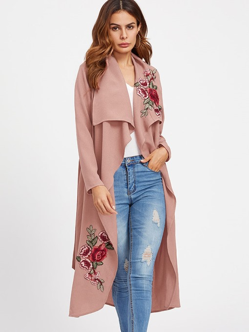 Wide Lapel Floral Embroidery Belt Women's Trench Coat
