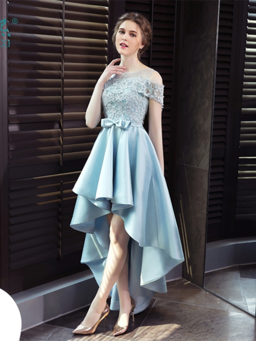 Open Shoulder Appliques Bowknot High Low Prom Dress