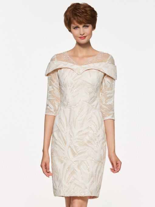 V-Neck Half Sleeves Sequined Mother of the Bride Dress