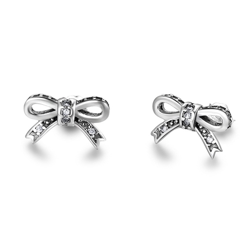 Bowknot Diamante Vintage Silver Sweet Earrings