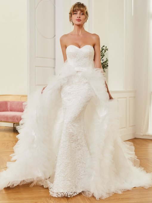 Sweetheart Mermaid Detachable Train Lace Wedding Dress
