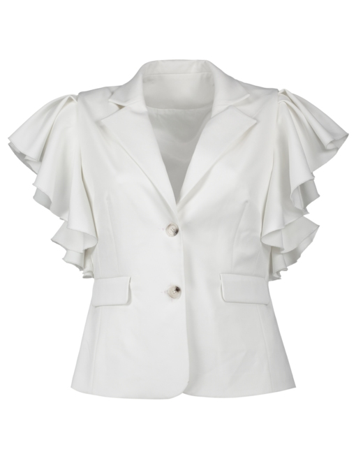 Plus Size Falbala Notched Lapel Women's Blazer