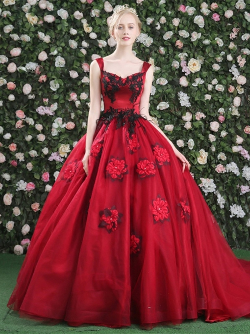 Straps Ball Gown Appliques Beading Flowers Court Train Quinceanera Dress