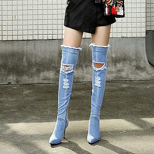 Denim Thigh-High Boots Stiletto Heel Side Zipper Women's Shoes