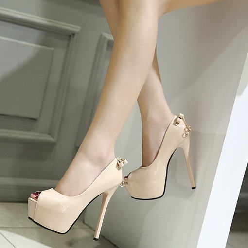 Peep Toe Rhinestone Bow High Heels Dress Shoes for Women