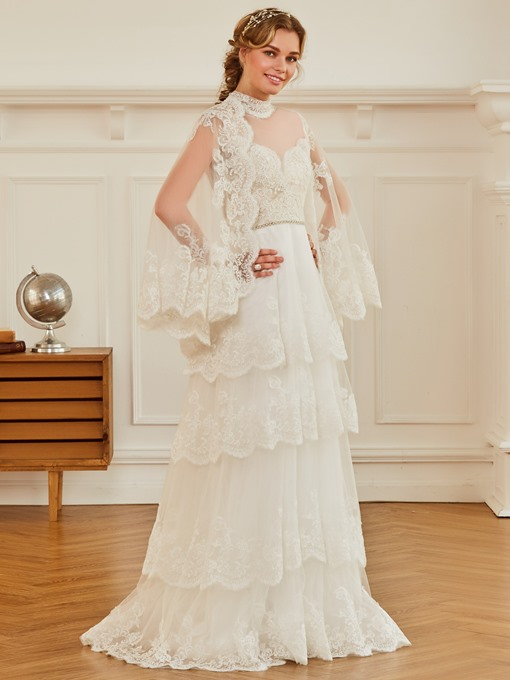 High Neck Tiered Appliques Wedding Dress with Sleeves