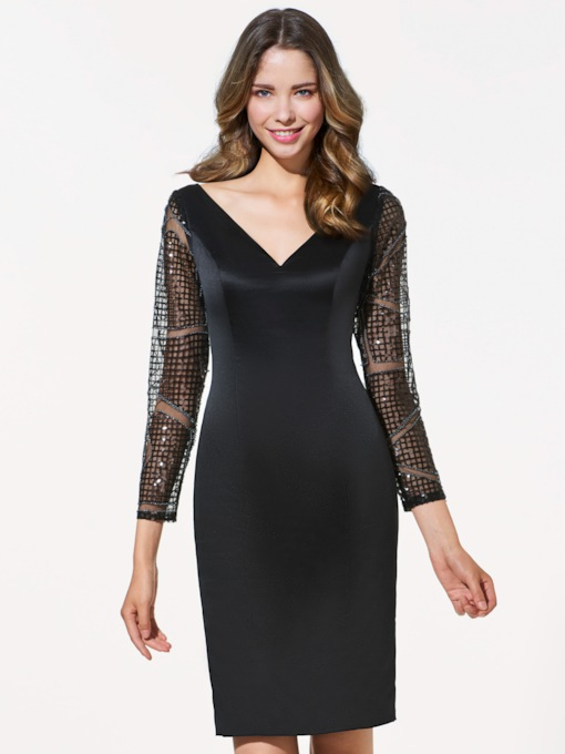 Long Sleeves V-Neck Sheath Lace Mini Cocktail Dress