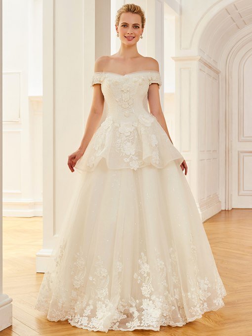 Ball Gown Off the Shoulder Beading Appliques Wedding Dress