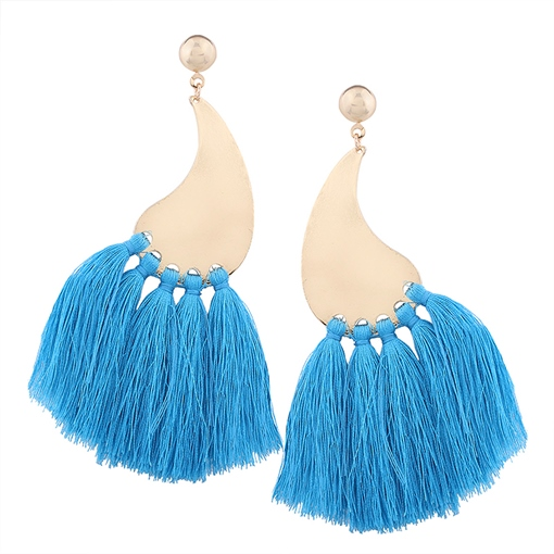 Dancing Kilt Shape Alloy Multilayer String Prom Bohemian Tassels Earrings