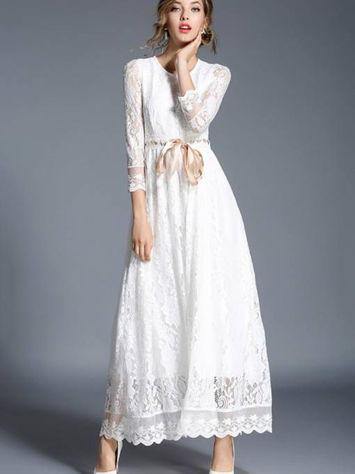 3/4 Sleeve White Women's Lace Dress