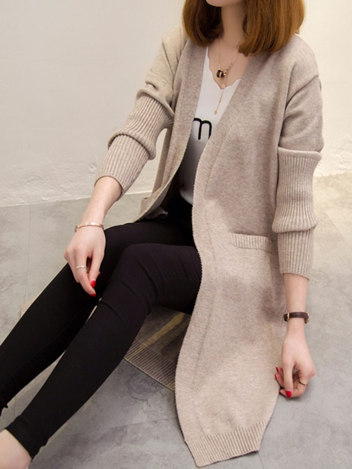Plain Loose Pocket Mid Length Women's Knitwear