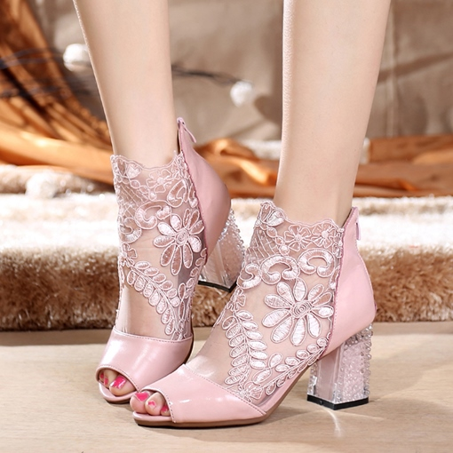 Lace Embroidery Floral Back Zip Women's Sweet Ankle Boots