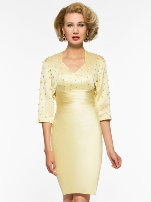 Pearls Column Mother of the Bride Dress with Jacket