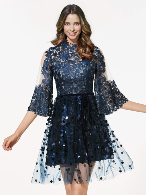 A-Line Long Sleeves Scoop Lace Sequins Short Cocktail Dress