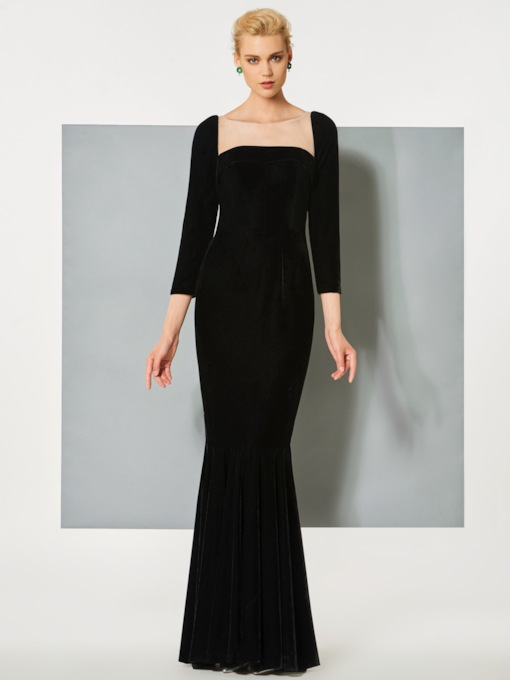 Bateau Mermaid Velvet Button Evening Dress