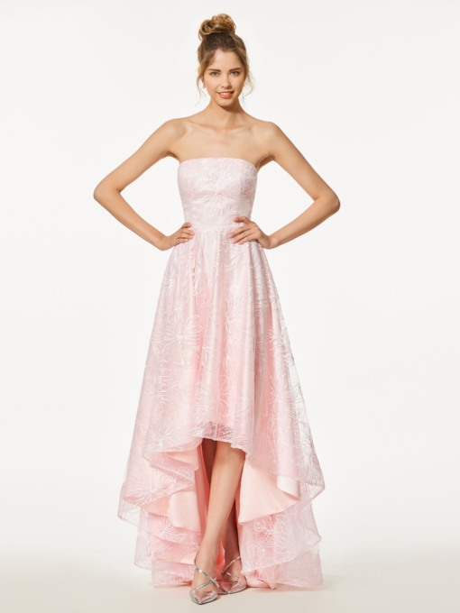 Strapless A-Line High Low Lace Prom Dress