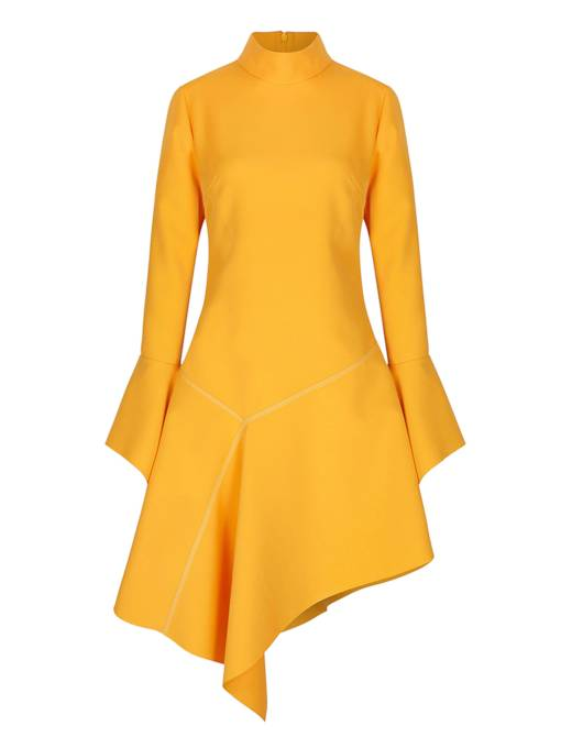 Yellow Bell Sleeve Asym Women's Day Dress
