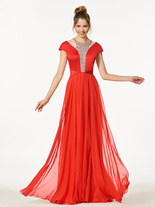 A-Line Beading Scoop Cap Sleeves Floor-Length Prom Dress