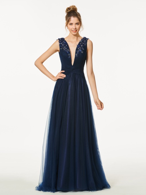 A-Line Appliques Beading Backless V-Neck Floor-Length Prom Dress