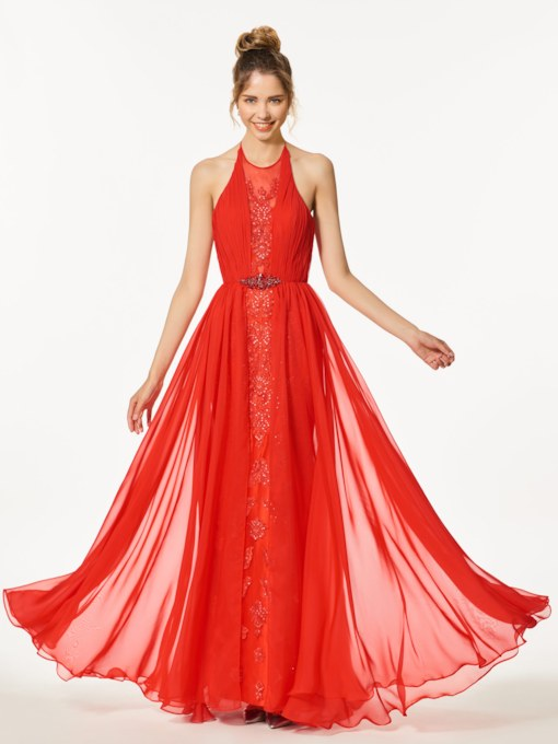 A-Line Appliques Beading Backless Halter Floor-Length Prom Dress