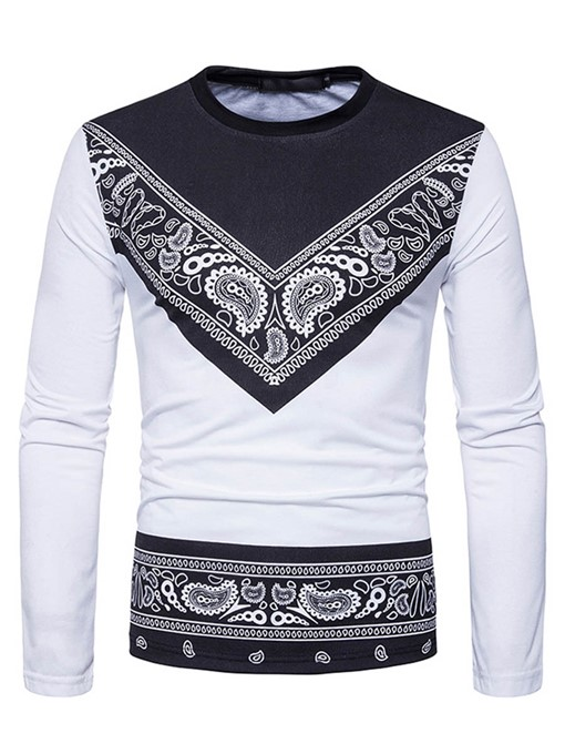 Round Collar Ethnic Patchwork Printed Slim Fit Men's T-Shirt