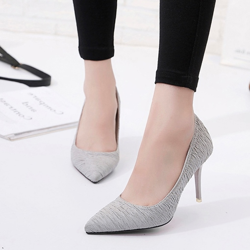 Wrinkle Cloth Slip-On High Heel Pumps for Women