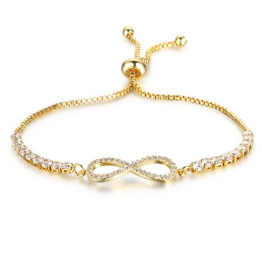 Adjustable Zircon Inlaid Box Chain Bracelet