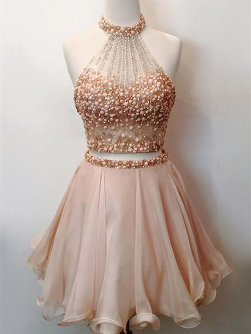 A-Line Halter Beading Short Sleeveless Homecoming Dress