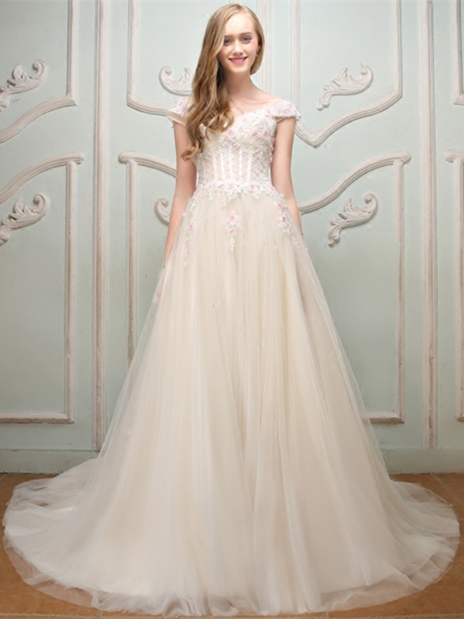 Flowers Lace Off-the-Shoulder Cap Sleeves Ball Gown Floor-Length Quinceanera Dress