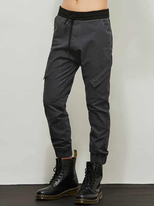 Motor Style Lace-up Solid Color Vogue Slim Men's Casual Pants