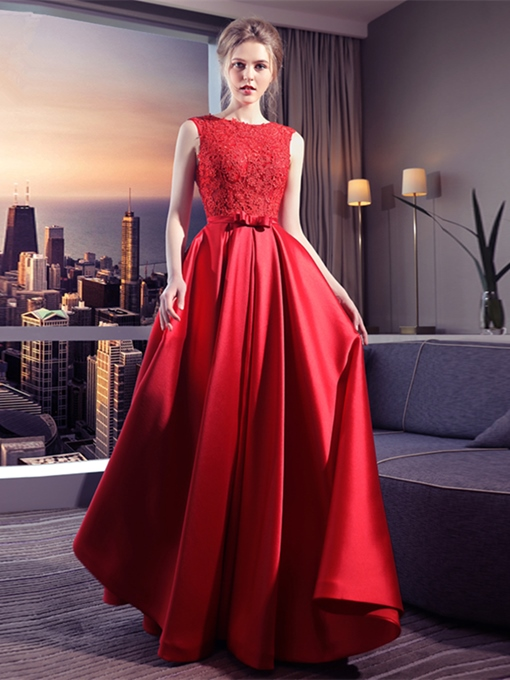 A-Line Appliques Bowknot Sashes Scoop Floor-Length Evening Dress