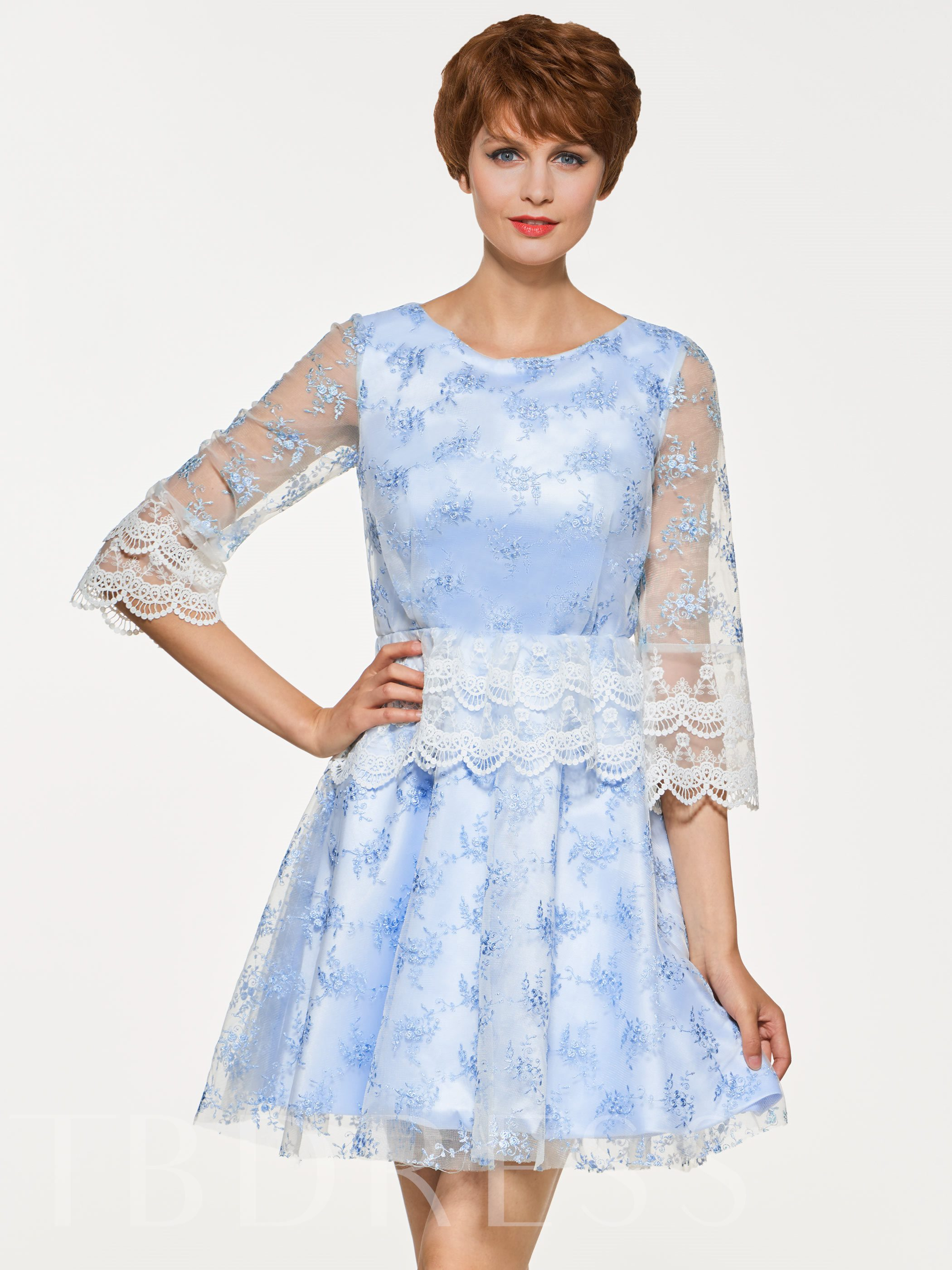 Image of Scoop Neck Half Sleeves Lace Cocktail Dress