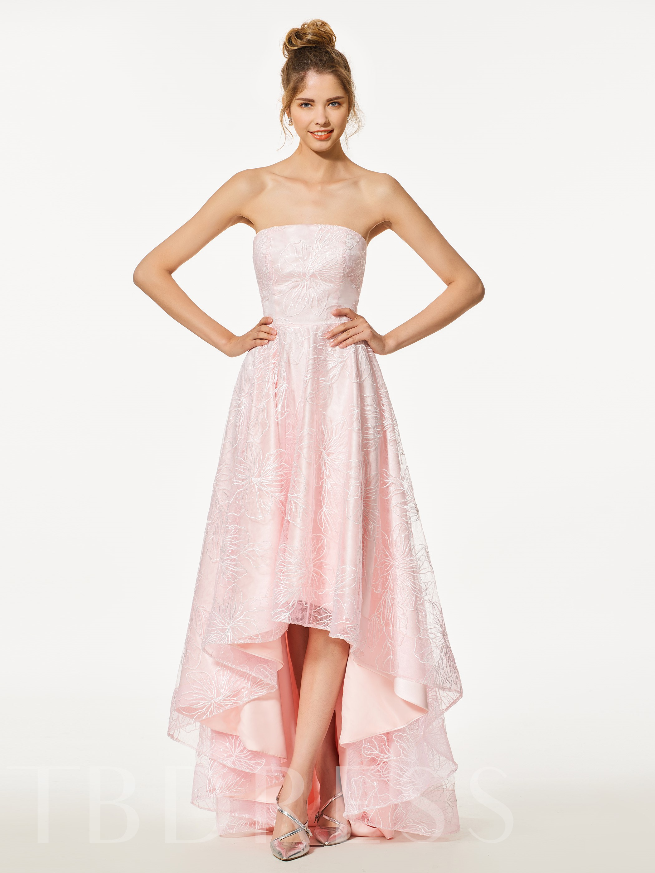 Strapless A-Line Lace High Low Prom Dress 12958611