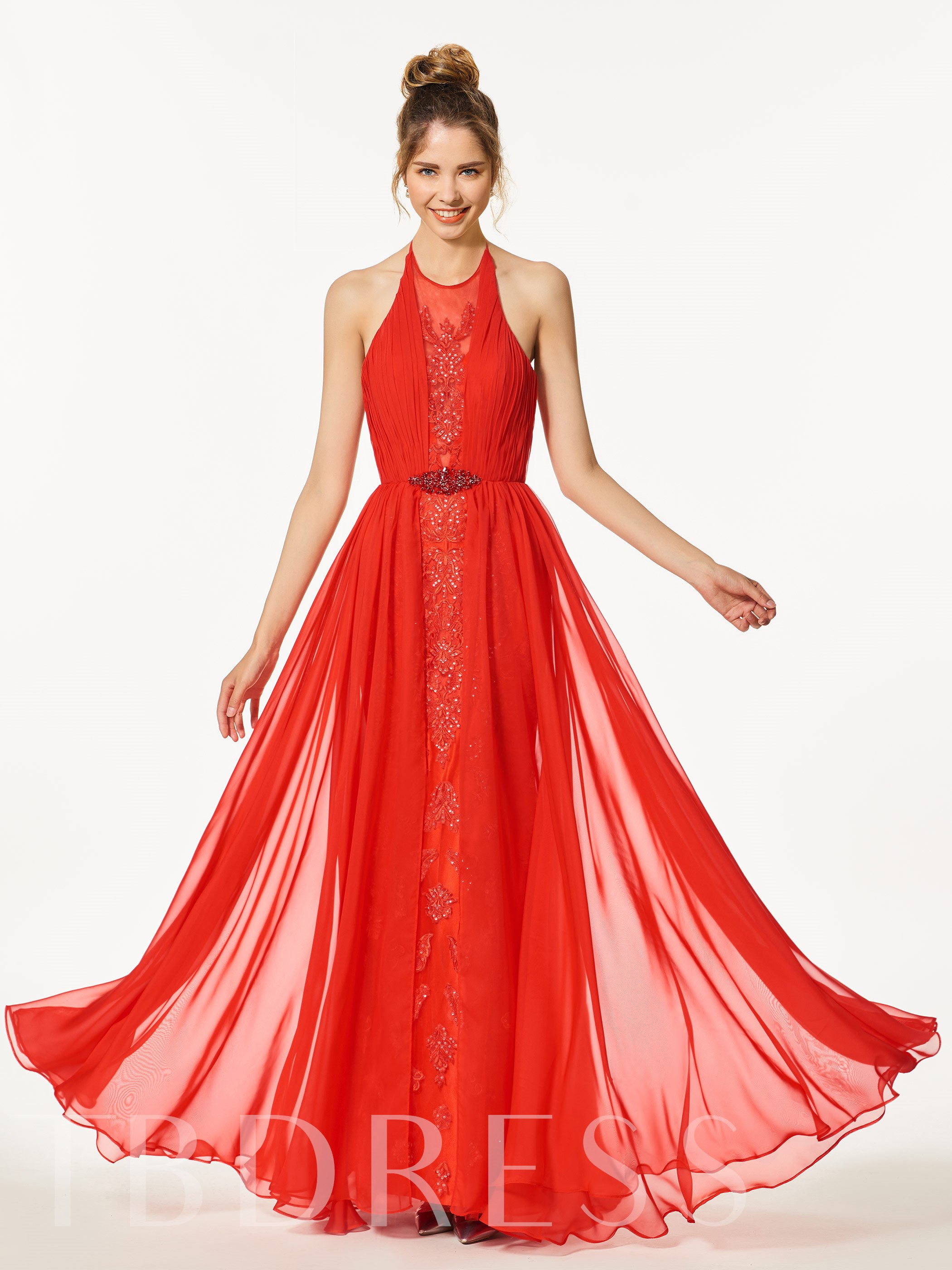 Image of A-Line Appliques Beading Backless Halter Floor-Length Prom Dress