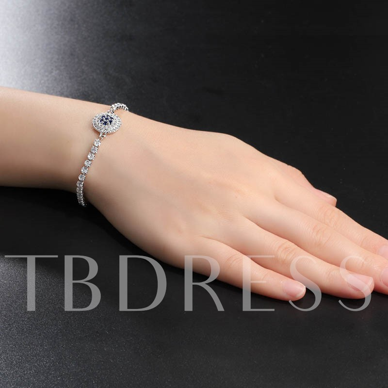 Round Zircon Inlaid Shiny Silver Plated Bracelet